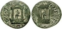 Coin of Nero showing the shrines built to the 'divas' Claudia (daughter) and Poppaea (wife) [via Wildwinds)  http://www.wildwinds.com/coins/sear5/s2058.html